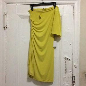 New Calvin Klein One Shoulder Yellow Dress Size 8